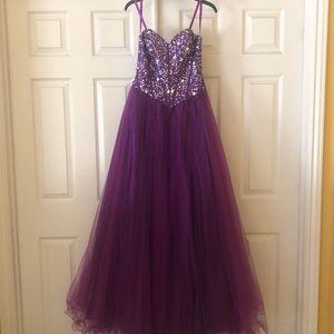 Purple full length prom dress